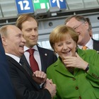 Hannover Messe-Rundgang mit Frau Merkel und Herrn Putin