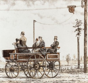 Siemens Electromote: Der Prototyp des ersten elektrischen Oberleitungsbusses, dargestellt auf einer zeitgenössischen Postkarte