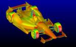 ANSYS CFD ermöglicht Dallara die nötigen Simulationen und die Verknüpfung mit den Strukturanalysedaten: Die Druckkonturen für das Indy Car 2012 wurden mit ANSYS Fluent-Software generiert