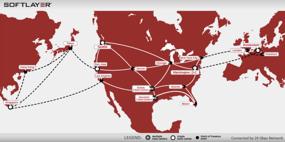 SoftLayer Technologies betreibt für seine Cloud-Infrastruktur-Services weltweit 13 Rechenzentren.
