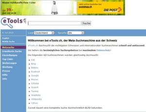 Die Schweizer Meta-Suchmaschine etools.ch wertet bis zu 12 Internet-Suchdienste aus.