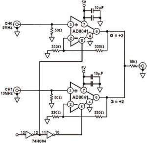 Bild 1: 2:1 Multiplexer mit zwei Operationsverstärkern des Typs AD8041