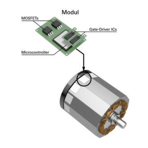 """Schematische Zeichnung der Grundidee """"EMiLE"""": Direkte Integration der Leistungselektronik in die E-Maschine."""