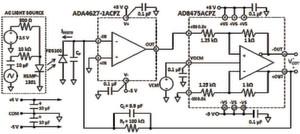 Bild 2: Hochempfindlicher Fotodiodenverstärker mit differenziellem Ausgang