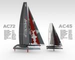 Vergleich: Die Daten der AC72 und der etwas kleineren Test-Yachten AC45