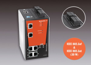 Weidmüller bietet Power-over-Ethernet (PoE) Switches im Produktsortiment Basic Line (Unmanaged) respektive Premium Line (Managed). Detail: 24 V für PoE-Versorgung.