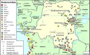 Verteilung der Bodenschätze in der Demokratischen Republik Kongo. Gut zu erkennen ist die Vielzahl von Lagerstätten im Osten des Landes im Grenzgebiet zu Ruanda, Burundi und Uganda.
