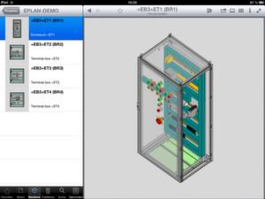 Veröffentlichte Eplan Projekte inklusive der 3D-Schaltschrankaufbauten können mit der Eplan View App direkt via iPad auf der Baustelle dokumentiert werden.