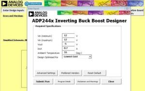 Bild 2: Um eine invertierende Buck-Boost-Schaltung mit einem ADP2441 zu evaluieren, eignet sich die Simulationssoftware ADIsimPower.