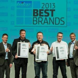 Die Best Brands 2013 aus der Händlerzufriedenheitsabfrage der »bike und business« stehen seit dem 21. November fest. Im Bild die Sieger Motorrad Volumen.
