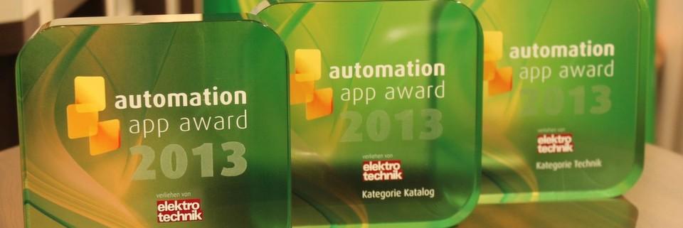 automation app award 2013: Die 3 besten Automatisierungs-Apps wurden von elektrotechnik auf der SPS IPC Drives ausgezeichnet.