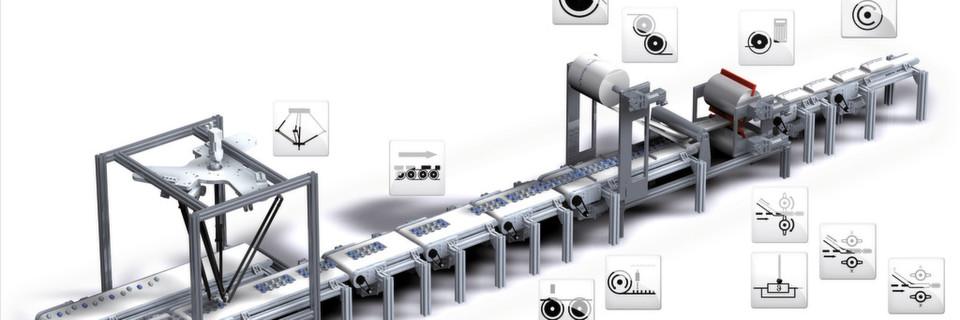 FAST-Schlauchbeutelmaschine: Mit den Lenze Technologie-Modulen lässt sich eine modulare Maschinensteuerung ziemlich einfach entwickeln. Das Zusammenfügen der einzelnen Module erfolgt mit dem Applikation Template.