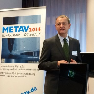 """""""Meine Perspektive ist, dass wir 30.000 Quadratmeter Netto-Ausstellungsfläche auf der Metav 2014 erreichen werden."""" sagt Dr. Wilfried Schäfer, Geschäftsführer des VDW, bei seiner Zwischenbilanz Anfang Dezember in Düsseldorf."""