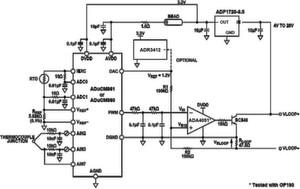 Bild 1: Schleifengespeistes Thermoelement-Temperaturmesssystem mit ARM Cortex-M3, das vom analogen Präzisionsmikrocontroller ADuCM360 gesteuert wird (vereinfachtes Schaltbild)
