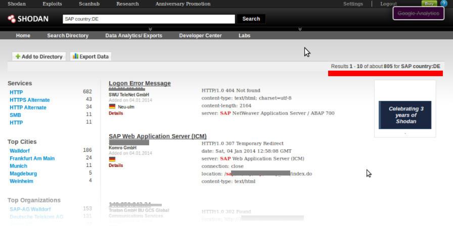 Laut der Suchmaschine ShodanHQ sind viele SAP-Anwendungen deutscher Unternehmen übers Internet erreichbar.