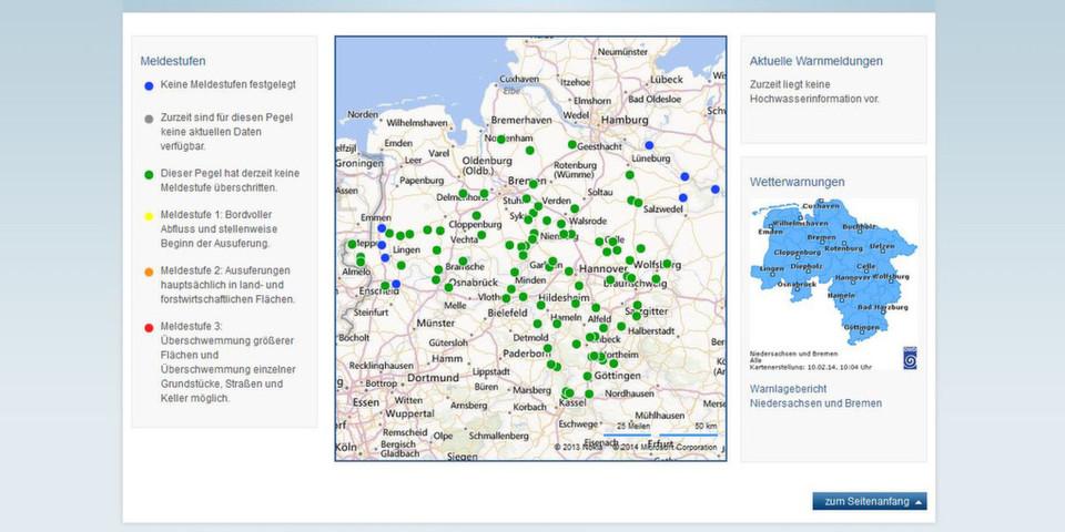 Das Hochwasserwarnsystem des Landes Niedersachsen stellt relevante Informationen öffentlich im Web bereit, um die Bevölkerung rechtzeitig vor Gefahren zu warnen.