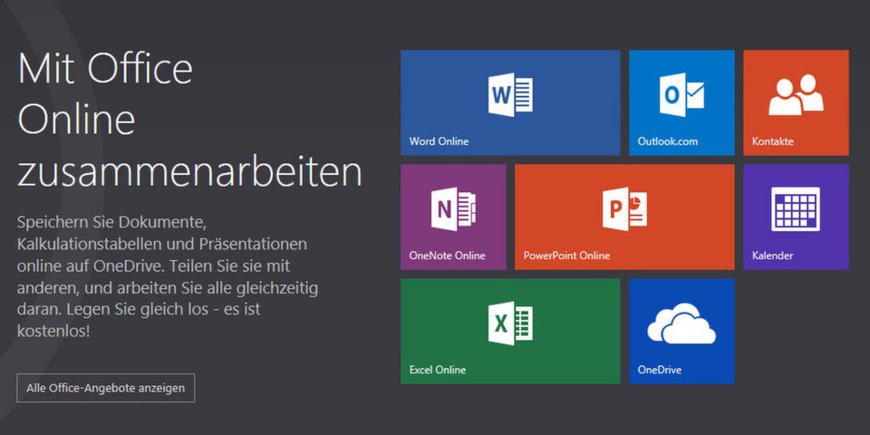 """Micrsoft präsentiert die bisher als Web Apps bekannten Dienste auf der zentralen Startseite """"Office Online""""."""