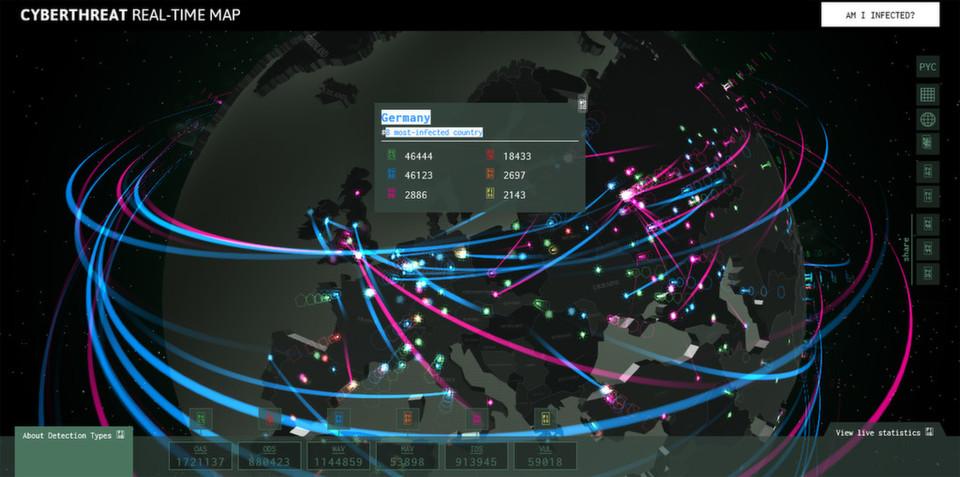 Zu buntes Treiben: Mithilfe eingefärbter Punkte und Linien zeigt Kaspersky Lab, mit welchen Bedrohungen man weltweit rechnen muss.