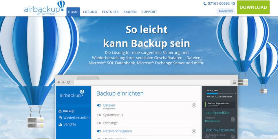 Teamviewer betritt mit Airbackup Neuland und bietet eine Online-Backup-Lösung für kleine und mittelständische Unternehmen.
