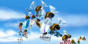 """In einer von Technik und Produkten geprägten Welt differenziert sich die Marke epis Automation optisch ganz bewusst durch das Key Visual """"Bienen""""."""