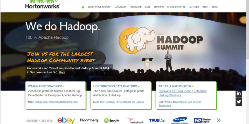 Die Hortonworks Hadoop Platform 2.1 mit dem Datenbetriebssystem Yarn als Kernkomponente ist laut Eigenwerbung die einzige integrierte und getestete Plattform bei den Open-Source-Distributionen.