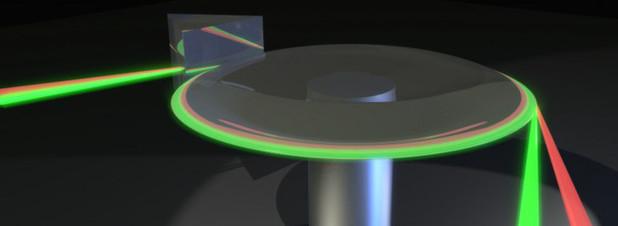 Das Grundprinzip des Licht-Thermometers: Die Ausbreitungsgeschwindigkeit zweier verschiedenfarbiger Lichtstrahlen in einer Kristallscheibe.