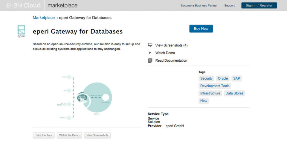 Sicherheit in der Cloud aus dem IBM Cloud-Marktplatz: Mit Eperi Gateway für Datenbanken lassen sich alle sensiblen Daten in einer Datenbank sicher verschlüsseln.
