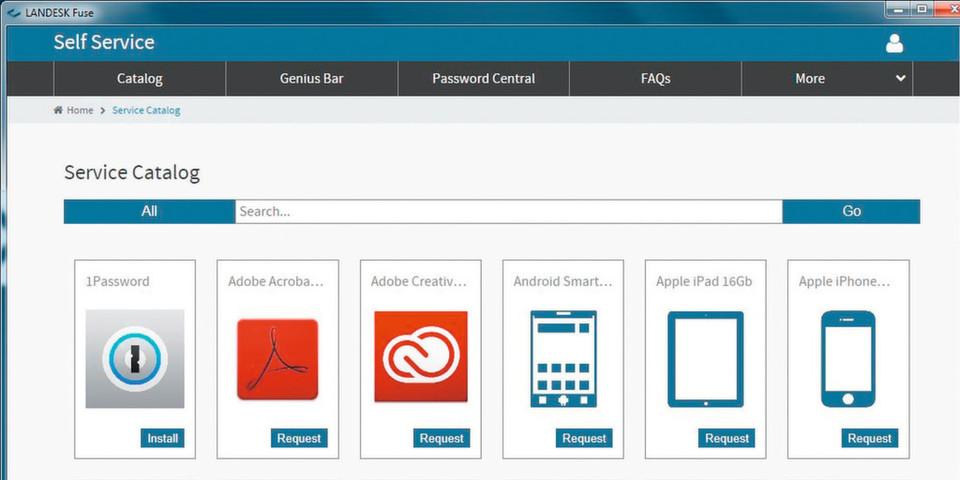 Mit Fuse von Landesk kann der Nutzer Applikationen und Hardware ordern.