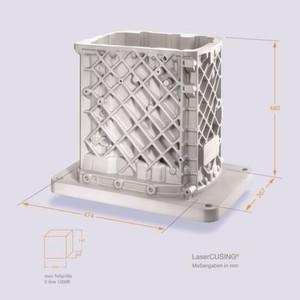 Das Getriebegehäuse aus Aluminium (Maße in mm) ist derzeit das größte Metallbauteil, das im pulverbettbasiertem Laserschmelzverfahren hergestellt wurde.