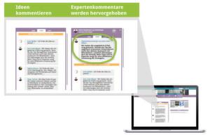 Mithilfe der Kommentarfunktion können sich Marketingverantwortliche mit ihren Kunden austauschen und im Dialog ihre Ideen und Ansätze weiter entwickeln.