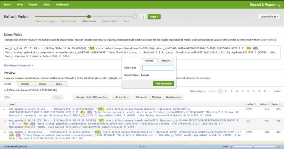 Hier ein Blick auf die neue On-Boarding-Funktion in Splunk-Enterprise 6.2. Der Ereignis-Assistent erkennt Muster und macht sie für den Anwender mithilfe von Farben kenntlich. Die Anwender können diese Muster verwenden oder verändern.
