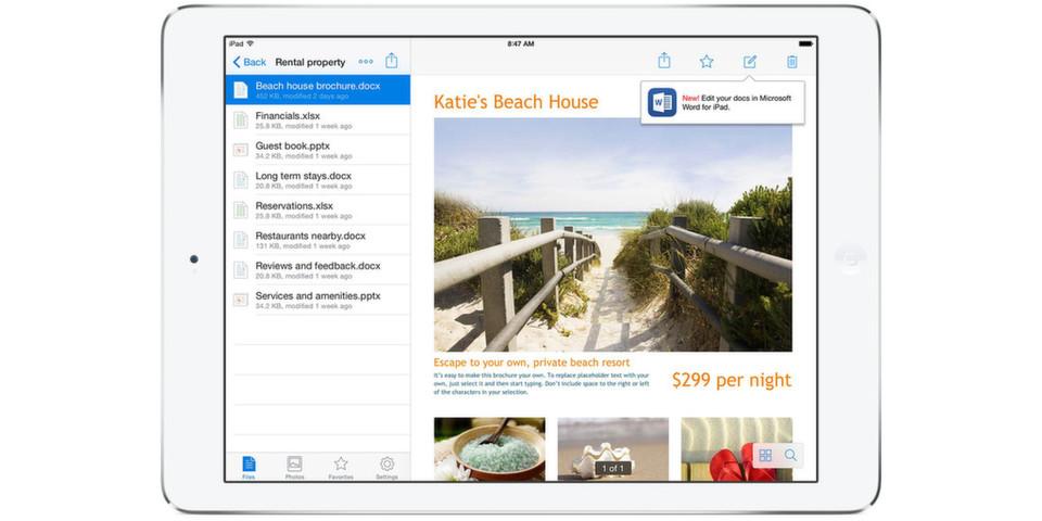 """In der Funktion """"Bearbeiten"""" lassen sich zum Beispiel Dokumente innerhalb Dropbox mit der entsprechenden Office-App bearbeiten; Änderungen werden dann automatisch in Dropbox gespeichert."""