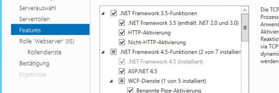 Installieren der notwendigen Serverdienste