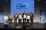 "Best Brands 2014 ""Helme"": Herbert Brogl (Germot), René Meures (Büse) und Claudia Hoppe (Grex/Nolangroup Deutschland)."