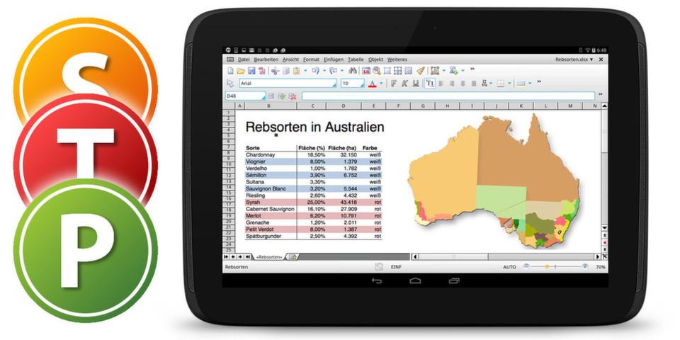 Für Smartphone-Displays sind die HD-Versionen von TextMaker, PlanMaker und Presentations weniger geeignet.