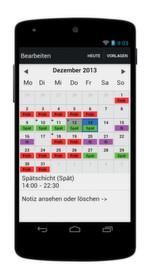 Dienstplan-Kalender lifegrit: Verwaltung der eigenen Arbeitsschichten, leider ohne Schnittstelle zum Arbeitgeber.