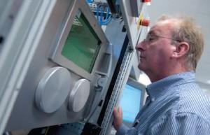 Blick in eine Laserschmelzmaschine von SLM Solutions