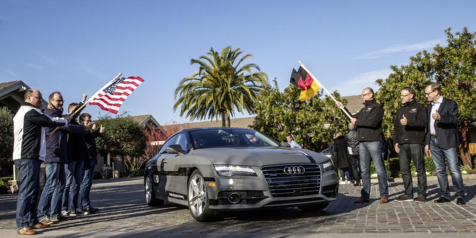 Start zur Testfahrt: Der Audi A7 Sportback piloted driving concept.