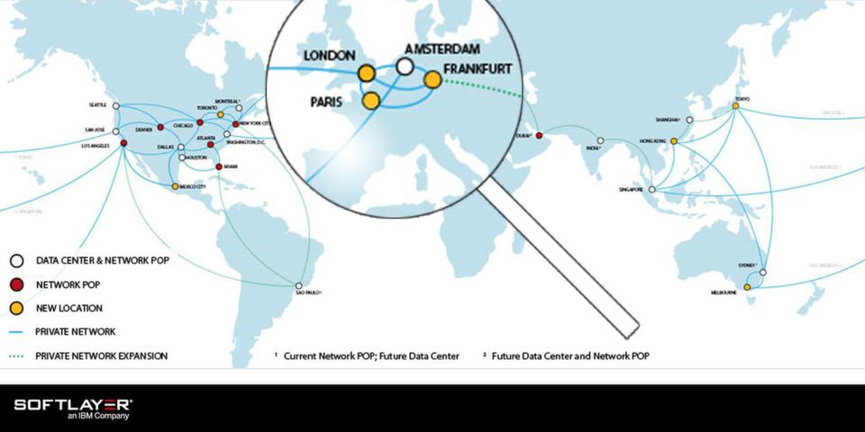 Mit dem Standort Frankfurt/Main kann IBM auf nunmehr vier europäische SoftLayer-Rechenzentren verweisen.