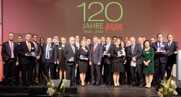 Die glücklichen Preisträger und ihre Laudatoren bei der MM-Gala am 15. Januar 2015.