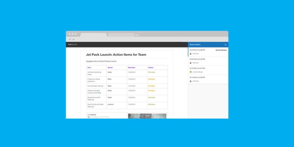 Die Cloud-Lösung Box Notes wurde um neue Teamwork-Funktionen erweitert: Anwender können nun auch einen Versionsverlauf nutzen, Tabellen anlegen oder Fotos hochladen.
