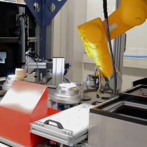 Bei einem Messgeräte-Hersteller vereinzelt, prüft und sortiert die Anlage 100 % des Wareneingangs an Schüttgutbauteilen mit einem 6-achsigen Roboter.