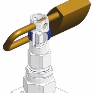 Die Armaturenventile der Armaturenfabrik Franz Schneider werden mit einem speziellen Steckgriff bedient, der genau in die Bohrung passt. Zusätzlich zu dieser Sicherheitsfunktion kann man durch die Montage eines Vorhängeschlosses verhindern, dass der Steckgriff eingeführt werden kann.