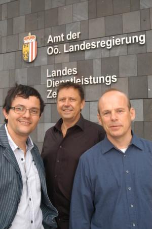 Thomas Greifeneder, Peter Breitenberger, Walter Osterkorn (v. l.) von der IT-Abteilung des Landes Oberösterreich