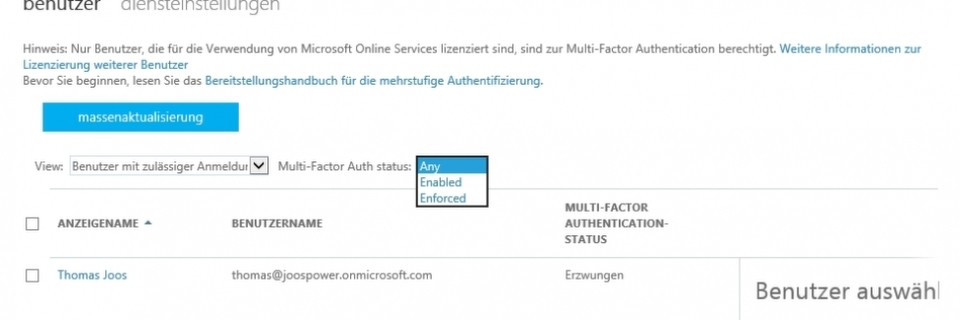 Multi-Faktor-Authentifizierung in Office 365