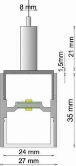 Technische Abmessungen: Das MicroLine-System (MLS-P) lässt sich abgependelt montieren und sorgt für direkte und indirekte Bestrahlung.