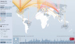 Die Ausmaße massiver DDoS-Attacken visualisiert diese Karte des Sicherheitsanbieters Arbor Networks vom Januar 2015.