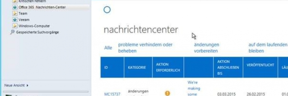 Das Office 365 Nachrichtencenter nutzen