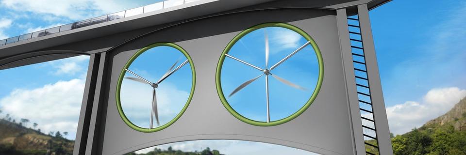 Windturbinen unter der Brücke