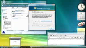 Der Desktop von Windows Vista (hier in der Ultimate-Fassung mit installiertem Service Pack 2). Auch wenn Microsoft die Performance- und Stabilitätsprobleme des Systems mit der Zeit in den Griff bekam, blieben viele Nutzer lieber beim bewährten Windows XP - oder stiegen später direkt auf Windows 7 um.